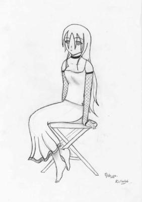 fille goth assise dessins de minako. Black Bedroom Furniture Sets. Home Design Ideas